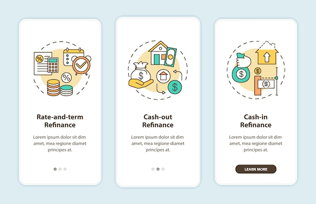 Mortgage refinance types onboarding mobile app page screen with concepts.