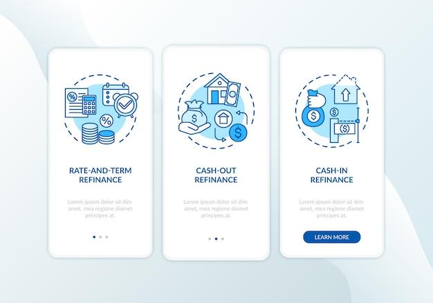 개념이있는 모바일 앱 페이지 화면 온 보딩 모기지 재 융자 유형