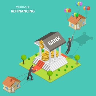 Mortgage refinancing isometric flat vector illustration.