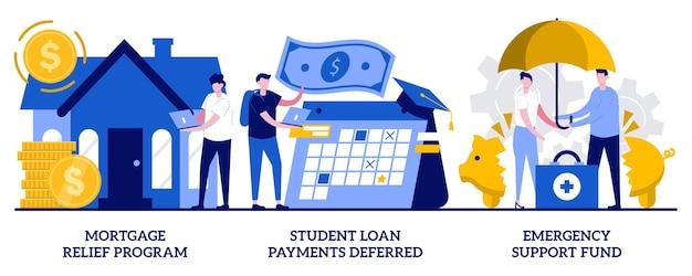 Программа помощи по ипотеке, отсрочка платежа по студенческому кредиту, концепция фонда поддержки экстренного реагирования с крошечными людьми. набор абстрактных векторных иллюстраций помощи правительства. метафора финансовых затруднений.
