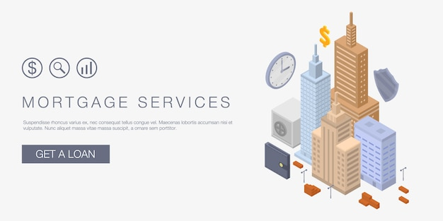 Mortgage services concept banner, isometric style