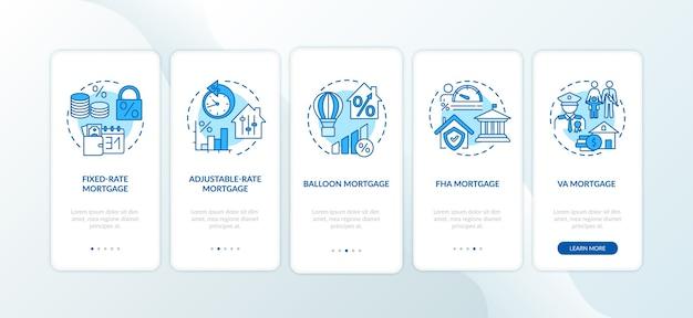 개념이있는 모기지 유형 온 보딩 모바일 앱 페이지 화면