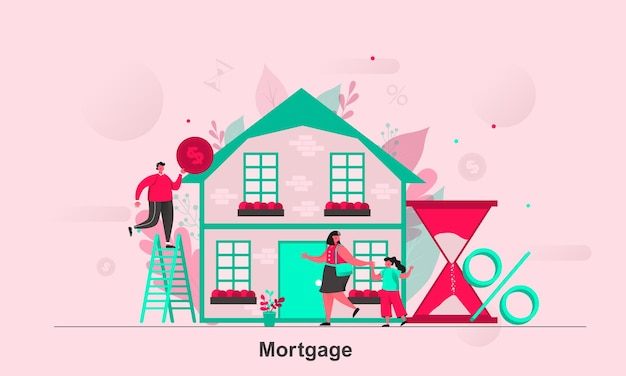 Mortgage web concept design in flat style with tiny people characters