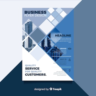 Mosaic business flyer template with photo
