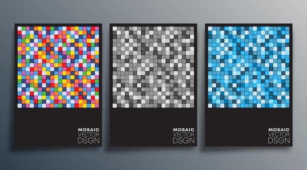 チラシ、ポスター、パンフレットの表紙のモザイクカラフルなデザイン