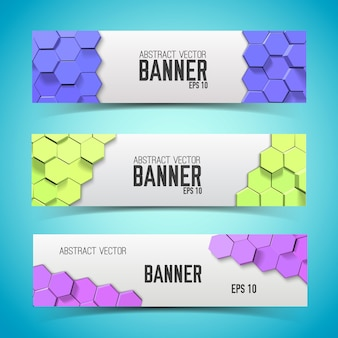 Mosaic geometric horizontal banners with colorful hexagonal honeycombs