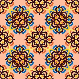 モザイクモチーフのタイル飾り。シームレスなベクトルパターン。印刷、ファブリック、テキスタイル、壁紙のテクスチャ。