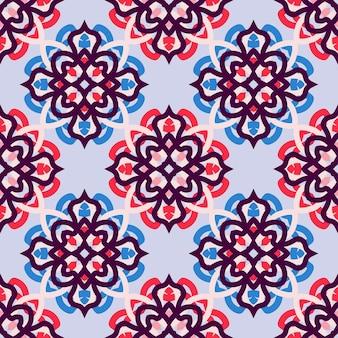 모자이크 모티브 타일 장식. 원활한 벡터 패턴입니다. 인쇄, 직물, 섬유, 벽지 질감.