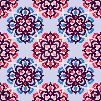 Mosaic motif tile ornament. seamless vector pattern. texture for print, fabric, textile, wallpaper.
