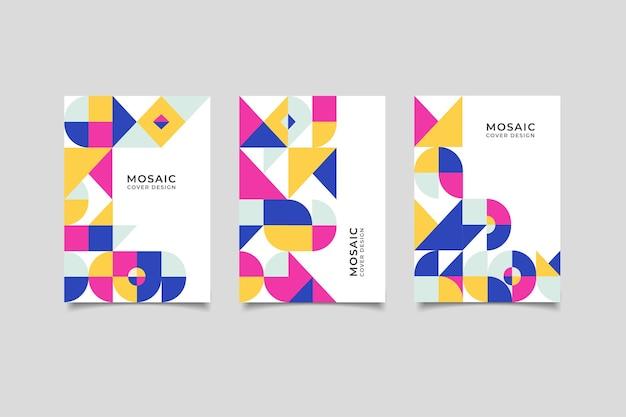 Мозаика ретро геометрический дизайн обложки Premium векторы