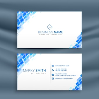 Mosaic style blue business card template