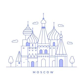 Moscow city concept landscape line art design