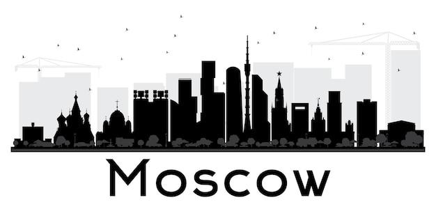 모스크바 시 스카이 라인 흑백 실루엣입니다. 벡터 일러스트 레이 션. 관광 프레젠테이션, 배너, 현수막 또는 웹 사이트를 위한 단순한 평면 개념입니다. 비즈니스 여행 개념입니다.