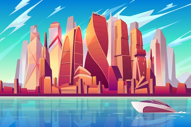 Moscow city skyline cartoon  panoramic background with international business center