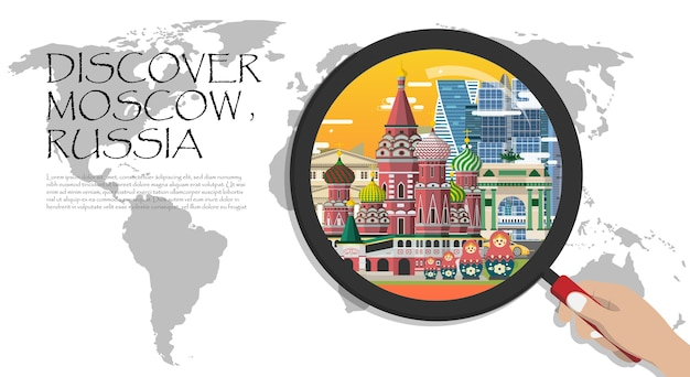 Moscow infographic tourist sights of russia, world map with magnifying glass.