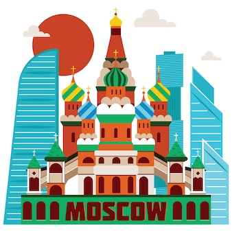 Moscow landmarks illustration