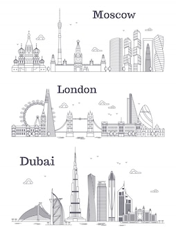Moscow, london, dubai linear landmark