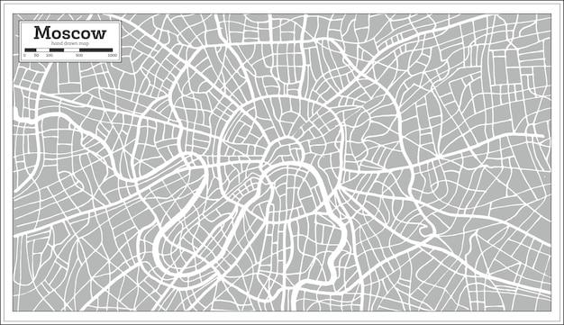 Карта москвы в стиле ретро. нарисованный от руки. векторные иллюстрации.