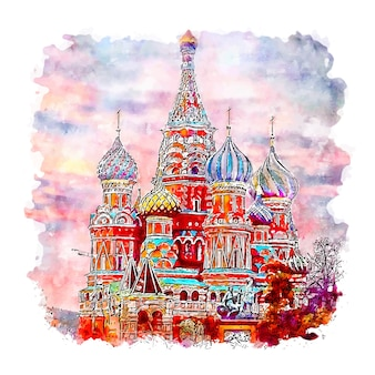 Moscow red square russia watercolor sketch hand drawn illustration