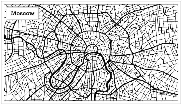 黒と白の色でモスクワロシアの都市地図。手で書いた。ベクトルイラスト。
