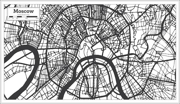 黒と白の色でモスクワロシアの都市地図。ベクトルイラスト。白地図。