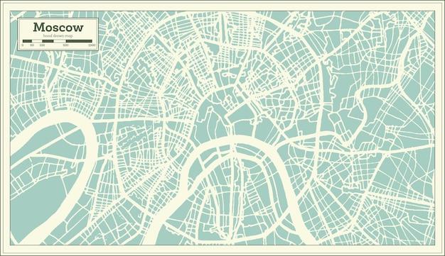 レトロなスタイルのモスクワロシアの都市地図。白地図。ベクトルイラスト。
