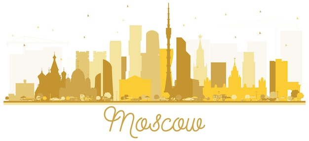 Moscow russia city skyline golden silhouette. vector illustration. moscow isolated on white background.