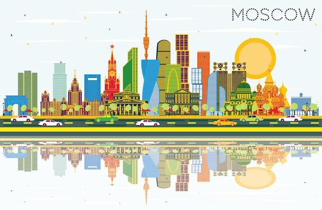 색상 건물, 푸른 하늘 및 반사 모스크바 러시아 도시의 스카이 라인. 벡터 일러스트 레이 션. 현대 건축과 비즈니스 여행 및 관광 그림입니다. 랜드마크가 있는 모스크바 풍경.