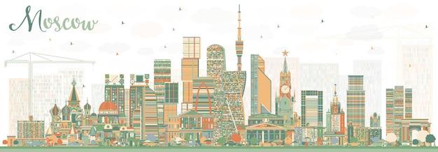 Москва россия skyline с цветными зданиями. векторные иллюстрации. деловые поездки и туризм иллюстрация с современной архитектурой.