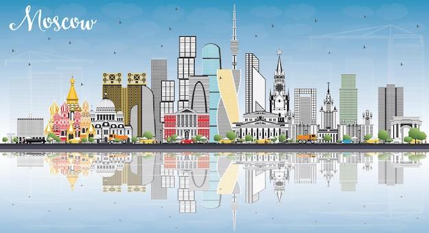 Горизонт москвы россия с серыми зданиями, голубым небом и размышлениями. векторные иллюстрации. деловые поездки и туризм иллюстрация с современной архитектурой.