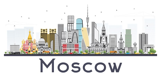 Москва россия skyline с серыми зданиями, изолированные на белом фоне. векторные иллюстрации. деловые поездки и туризм иллюстрация с современной архитектурой.