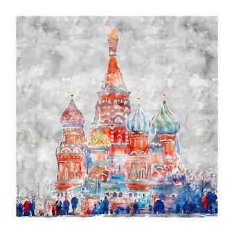 Москва россия акварельный эскиз рисованной иллюстрации