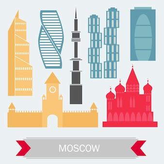 Москва россия с цветными зданиями - набор иконок. векторные иллюстрации. деловые поездки и туризм иллюстрация с современной архитектурой.