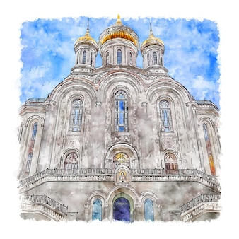 Moscow sretensky monastery watercolor sketch hand drawn illustration