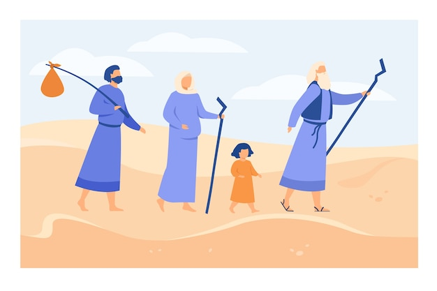 Moses leading israelites across desert towards promised land flat vector illustration. christian ancient prophet showing way through sands to characters. bible narratives and religion concept