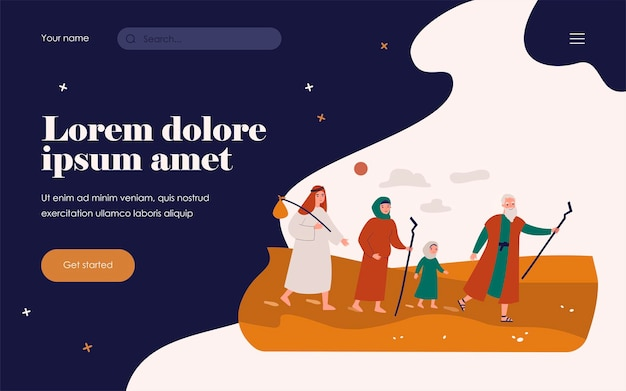 Moses the prophet leading christian people through desert. vector illustration for bible characters, mythology, history, christianity concept