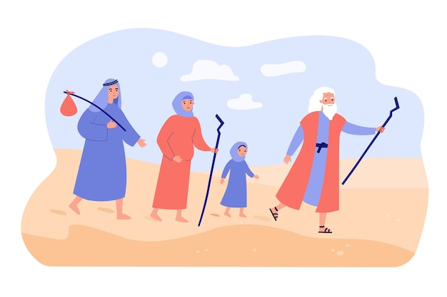 Moses the prophet leading christian people through desert.
