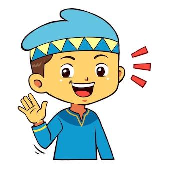 Moslem boy character pose greetings.