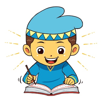 Moslem boy character reading quran pose.