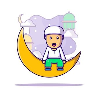 이슬람교도 소년 인사말 라마단 카림 만화 일러스트 레이션