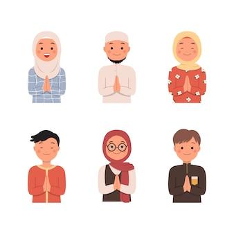 회교도 캐릭터 아바타 인사말 포즈로 설정합니다. 이슬람 패션과 히잡의 남자와 여자. 라마단 카림. 이드 피터.