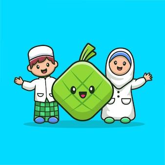 かわいいketupat漫画アイコンイラストとイスラム教徒のカップル。分離された宗教イスラム教アイコンコンセプト。フラット漫画のスタイル