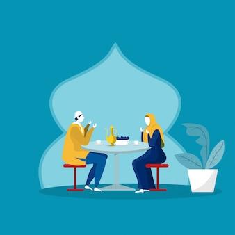 ラマダンカリームでのイスラム教家族の夕食