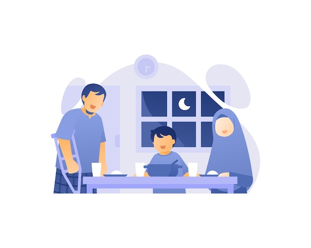 Moslem family eat together in dining room illustration