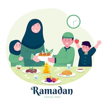 Moslem family enjoying ramadan iftar together in happiness during fasting