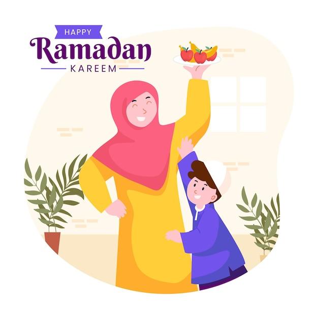 断食中に幸せに一緒にラマダンイフタールを楽しんでいるイスラム教徒の家族
