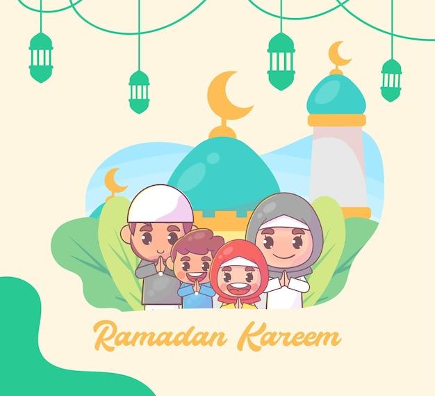 Мусульманская семья приветствует рамадан карим исламский
