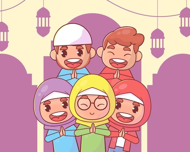 이슬람 가족 인사말 라마단 카림 이슬람
