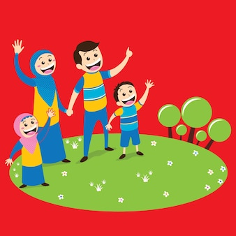 Moslem family in park illustration with red background