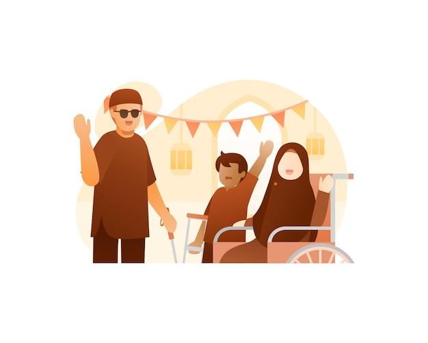 장애를 가진 이슬람 가족은 eid mubarak 그림을 축하합니다.